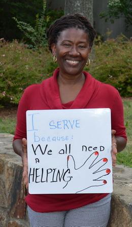 Diane Baker Holding Why I Serve Sign