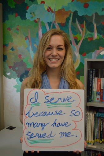 Elise Dilday Holding Why I Serve Sign