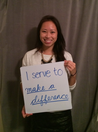 May Chang Holding Why I Serve Sign