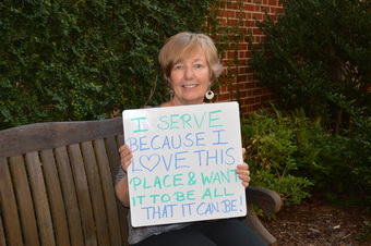 Susan Worley Holding Why I Serve Sign