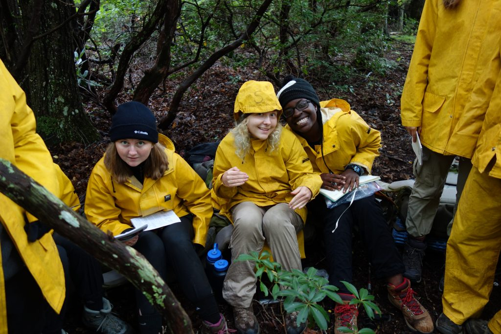Outward Bound participants in rain gear