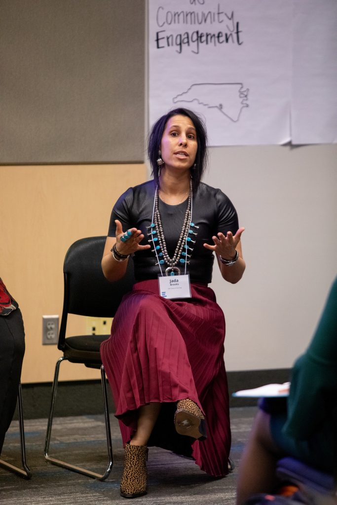 Jada Brooks, gesturing as she speaks