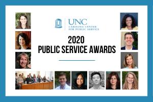 "Headshots surrounding the words ""2020 Public Service Awards"""