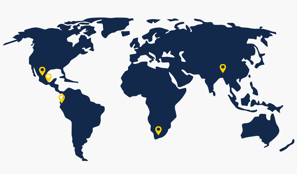 world map with global service-learning grantee destinations pinned