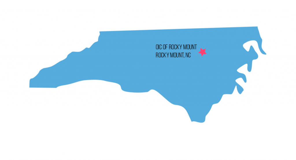 map with a star marking the OIC of Rocky Mount in Rocky Mount, NC