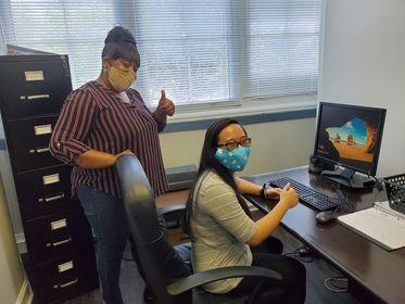 Amanda Chau smiling with Sheneathia Hanson, the SOAR Program Manager